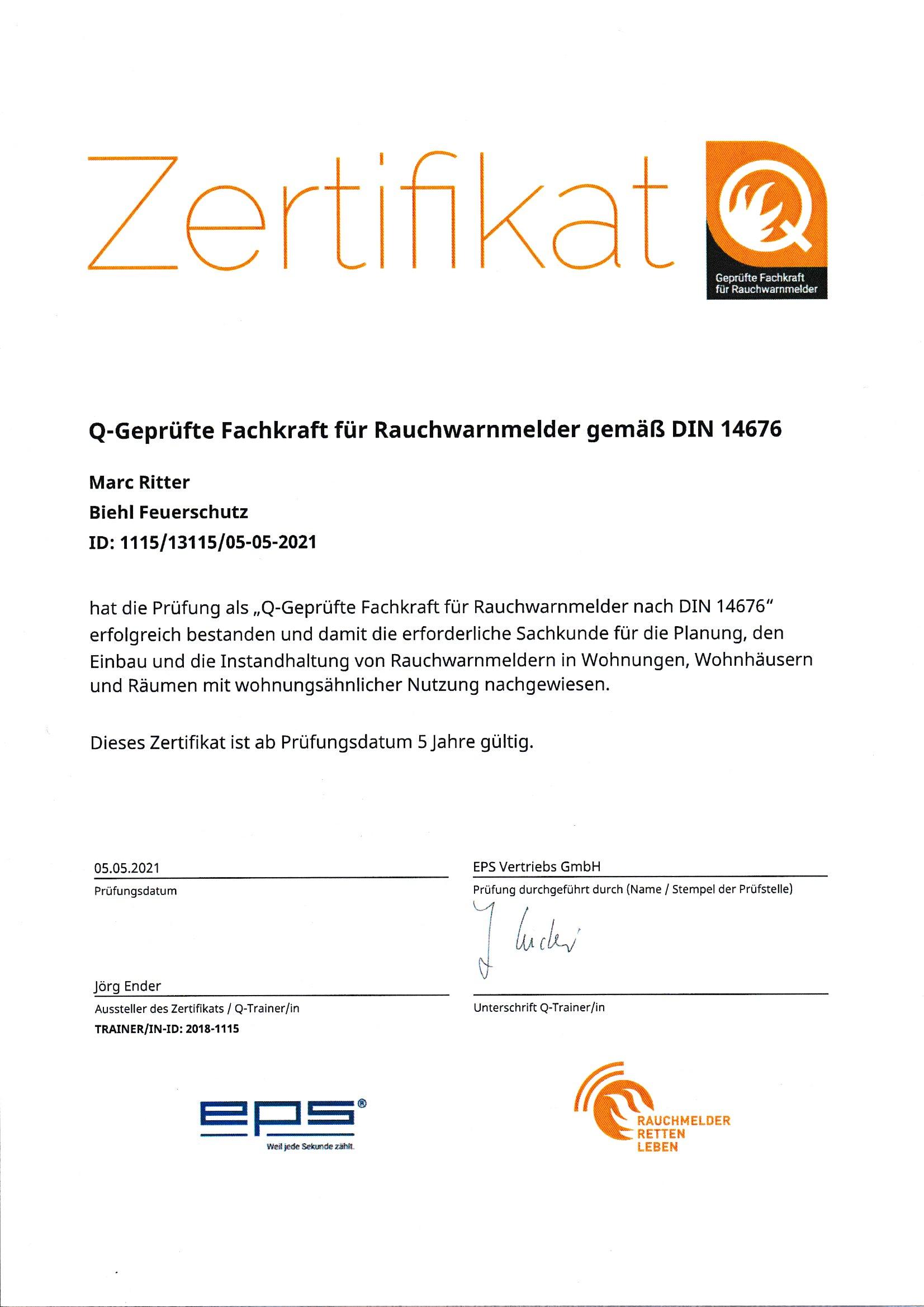 Zertifikat Q
